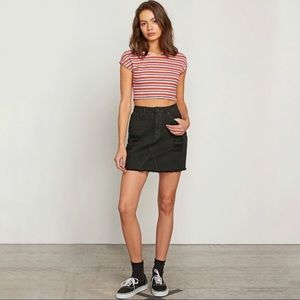 Volcom black stoned jean mini skirt